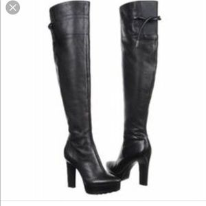 Calvin Klein platform leather Pointed Toe boots